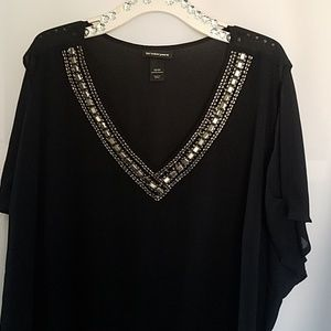 LANE BRYANT EMBELLISHED COLD SHOULDER BLOUSE